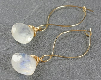 Moonstone Earrings, Gold-filled wire wrap, milky cream gemstone with blue flash, marquise ear wires, June Birthstone, gift for her,3303