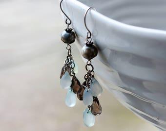 Chalcedony Earrings, Smoky Quartz Earrings, Grey Pearls Earrings, Sterling Silver, fine cluster earrings, white-grey gemstones, gift for her
