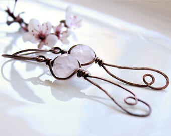 Rose Quartz Earrings, copper wire wrap, light pink gemstone, hand-forged artisan earrings, modern artisan earrings, holiday gift for her