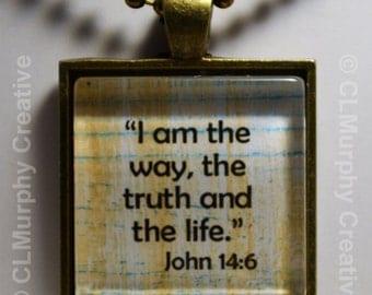 Christian Custom Art Necklace Pendant Jewelry Christian Pendant I Am The Way John 14:6 Sobriety NA AA C L Murphy Creative
