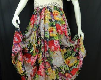 Bohemian long floral skirt Boho maxi skirt Colorful gypsy skirt Summer vintage clothing Indian cotton gauze skirt Blue red broomstick skirt