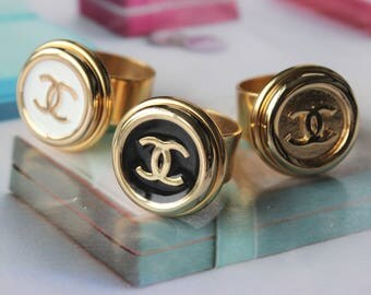 Authentic Chanel Button Ring Classic Design, Iconic Insignia Ring in Black White or Gold Button Jewelry, Adjustable Ring veryDonna