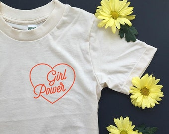 GIRL POWER - Teen Tee - Equality - Feminist Shirt - Organic T-Shirt - POCKET Tee Design - Youth Sizes - Natural White - Girl Gang