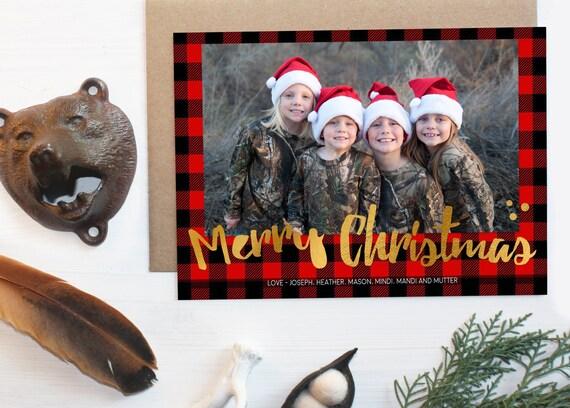buffalo plaid christmas card with photo lumberjack holiday card