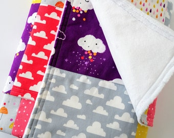 Modern Baby or Toddler Quilted Blanket for Girl - Clouds, Rain, Stars, Moons, Sky, Umbrellas, Raindrops on Cotton, Minky Back, 28x35 inches