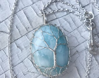 """Reserved for Melissa Wayteck - Tree of Life Necklace - Solid Sterling Silver and Genuine Larimar - """"Cloud Gazer"""""""