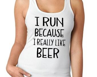 I Run Because Tank, Racerback Tank, Running Shirt, Workout Tank, Funny Workout Tank, Running Tank, Crossfit Tank, Cute Yoga Tank, Fitness