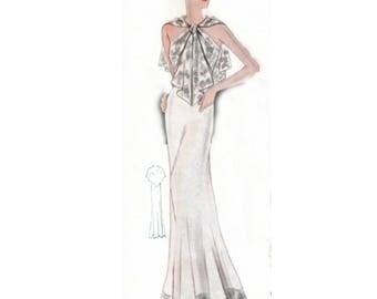 Plus Size (or any size) Vintage 1934 Dress Sewing Pattern - PDF - Pattern No 1545 Bobbie