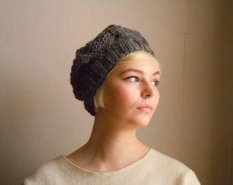 Chunky wool beret - Dark gray