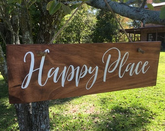 Rustic Timber Happy Place Sign – Hand painted, hand crafted, wooden, walnut colour, white script, 175 x 540mm, can also be made to order