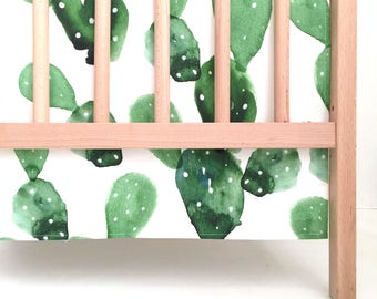 Crib Skirt Watercolor Cactus. Baby Bedding. Crib Bedding. Crib Skirt Boy. Baby Boy Nursery. Cactus Crib Skirt.