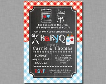 Twins Gender Reveal Baby Q Invitation red blue baby shower Cameron GR03 Digital or Printed