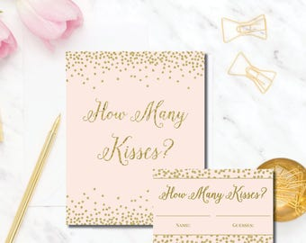 Blush Gold How Many Kisses bridal shower game Mia BR71 Instant Download