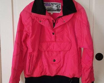 HOT PINK SKI Jacket // 90's Nils Ski Bunny Snowboard Lift Ticket Neon Voltage Puffy Coat Black Ribbed Size 8 Women's
