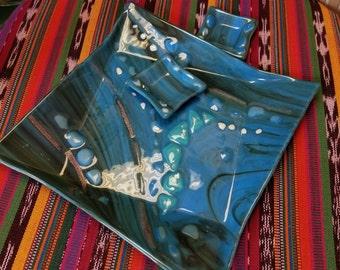 Blue fused glass  sushi set