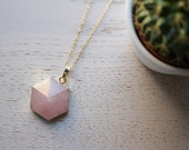 Genuine Rose Quartz Crystal Necklace Hexagon Cut with 18K Gold Plated Chain