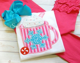 Hot cocoa shirt and ruffle pant set- Winter outfit- Pajamas- Girl's Hot Cocoa Applique Shirt- Ruffle Pants- Birthday Pajamas- Monogram- Girl