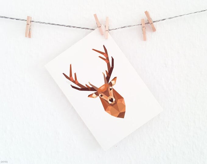 Stag print, Stag head wall art, Deer illustration, Geometric deer, Wildlife art, Forest animal art, Woodland animals, Animal art for nursery