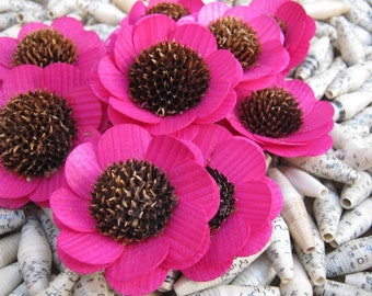 Fuchsia Hot Pink  Brown-Eyed Susan- Wooden Flowers - Floral Supplies - Wedding Flowers