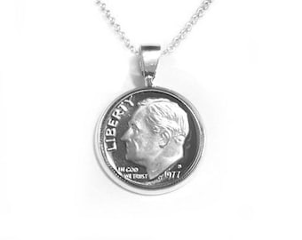 "Dime Necklace Pendant - ""Dime In"" Diamond Necklace Play on Words"