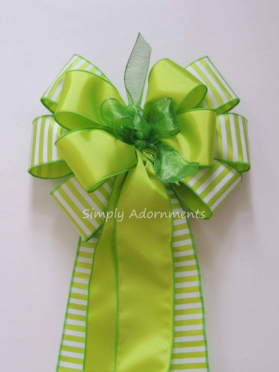 Spring Green Easter Bow Green Easter Wreath Bow Chartreuse Green Wedding Pew Bow Easter Gift Basket Bow Easter Spring Door Hanger Decoration
