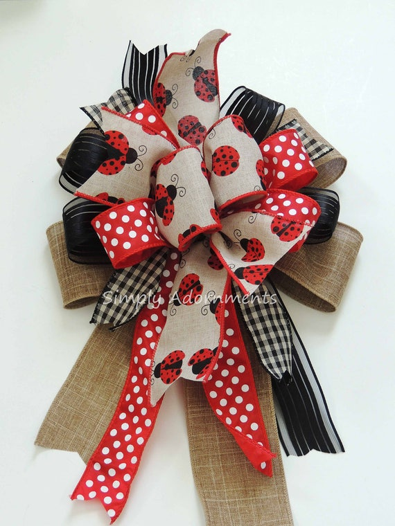 Ladybug baby shower Decor Ladybug birthday party decor Ladybug Wreath Bow Ladybug Wedding Decoration Ladybug Party Decorations Gifts Bow