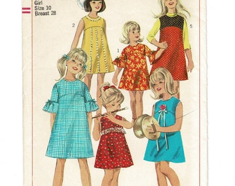 simplicity sewing pattern 6903 Girls Spring Dress or Jumper pattern, Size 10 breast 28, vintage 1960s complete