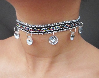 Deco choker with dangles - Silver