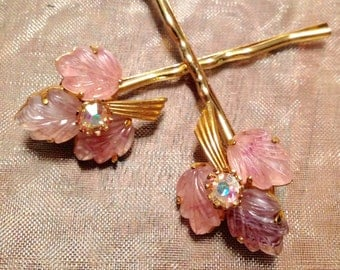 Vintage Hair Pins 1940's Pink Ombre Glass Leaves & Rhinestone Decorative Hairpins Bobby Pins
