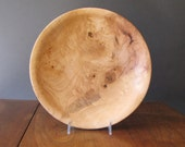 Figured maple wood bowl, turned wood centerpiece bowl, tan and light brown colors