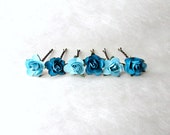 Teal Rose Hair Clips. Light Turquoise and Teal Bobby Pins. Malibu Blue Wedding Hair Accessories Small Paper Flower Hair Pins for Bridesmaids