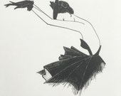 fashion illustration / original ink pen drawing / fashion sketch