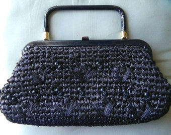 Vintage blueberry staw beaded purse