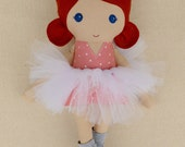 Fabric Doll Rag Doll Red Haired Girl in Coral Polka Dotted Top with Tutu, Leg Warmers, Extra Gold Skirt, and Pink Scarf