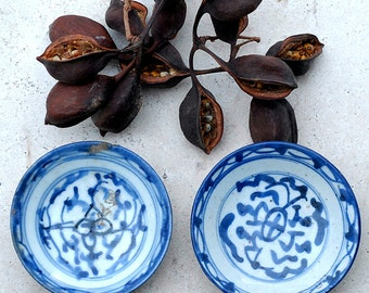 Small Antique Chinese Porcelain Dishes, Blue and White Hand Painted Plates, Collectible Plates, '30s Chinese Sauce Dishes, Set of Two