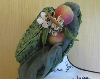 Vintage  Green Peaches Hat by Leslie James