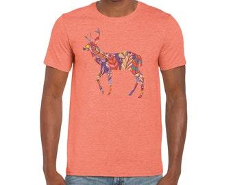 Deer Shirt | Men's Deer Shirt | Deer Tshirt | Feather Shirt | deer t shirt | deer antler | graphic tees | t-shirt |