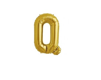 """Letter Q - Gold 16"""" Mylar Letter Balloon, Wedding, Bridal Shower, 1st Birthday, Photo Prop, Name Banner, Baby Shower, Baby Name, Party"""