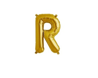 """Letter R - Gold 16"""" Mylar Letter Balloon, Wedding, Bridal Shower, 1st Birthday, Photo Prop, Name Banner, Baby Shower, Baby Name, Party"""