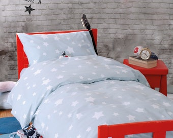 """Twin size Bedding-Cotton100% -Twin duvet cover 98"""" x 62"""" and pillow case 20"""" x29"""" -star printed cotton fabric in  blue color or stong pink"""