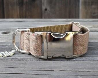 Tan Modern Burlap Dog Collar - Adjustable Dog Collar, Tan Burlap with Colored Confetti, Metal Hardware