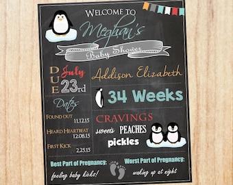 Penguin Baby Shower Chalkboard Welcome Sign. Penguin baby shower decoration. penguin shower game. penguin decor PRINTABLE poster.