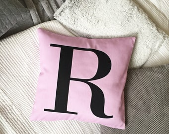 Pastel Pink alphabet monogram cushion cover