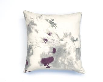 Hand dyed Throw Pillow with Purple and Gray Pillow Cover Decorative Throw Pillow 20 x 20 Cushion Cover Black Cherry 4