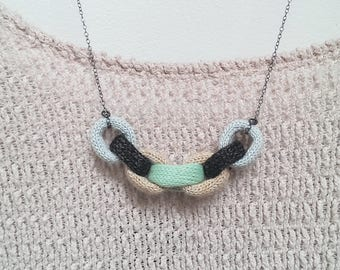 Knitted Chain Link Necklace - Ice blue, charcoal, nude and mint