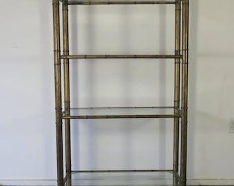 Vintage Faux Bamboo Metal Etagere Shelving Unit