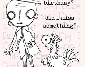 Charlie Walker - quirky zombie gentleman and chicken digi stamps in jpg and png files