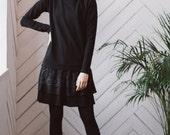 black dress, jersey dress, black dress long sleeve, black jersey dress, casual dress, lace dress, comfy dress, dress, full skirt dress