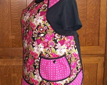 Hot Pink and Black Floral Apron - Plus Size Kitchen Apron - Size 3XL New Retro Apron