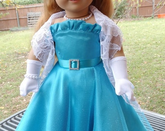 "18"" Doll Clothes 1950's Style Formal Ball Gown Fits American Girl Maryellen, Melody"
